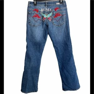 Joy Peace Butterfly Embroidered Jeans